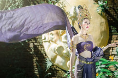 Тайские женщины в национальном костюме Стоковая Фотография