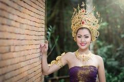 Тайские женщины в национальном костюме Стоковые Фотографии RF