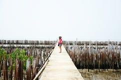 Тайские женщины стоя самостоятельно на мосте дорожки в лесе мангровы Стоковая Фотография RF