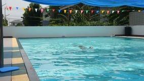 Тайские жирные люди плавают и играющ в воде на бассейнах спортклуба видеоматериал