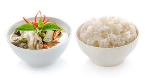 Тайские карри и рис зеленого цвета цыпленка еды Стоковое Изображение