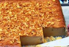 Тайские квадраты заварного крема кокоса, пасть Kaeng Khanom, тайский десерт традиции Стоковая Фотография