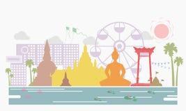 Тайские культура и положение ориентир ориентира в предпосылке Таиланда - векторе Стоковые Фотографии RF