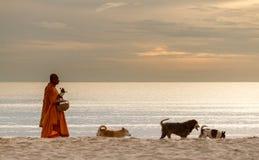 Тайские монахи на пляже стоковое изображение