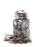 Тайские монетки в стеклянном опарнике Стоковые Фотографии RF