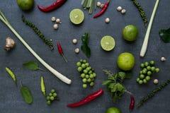 Тайские пищевые ингредиенты, овощ, пряный вкус Стоковые Изображения