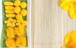 Тайские помадки, или Khanom тайское традиционные тайские помадки оба flav Стоковая Фотография
