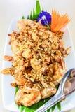 Тайские продукты моря, зажаренный шримс с чесноком и перец Стоковая Фотография RF