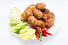 Тайские сосиски на блюде Стоковое фото RF