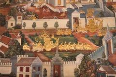 Тайские стенные росписи на стене, Wat Phra Kaew 16-ого июля 2016 Стоковая Фотография RF