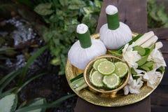 Тайские традиционные шарики 4 комплекта и травы заботы тела Стоковые Изображения
