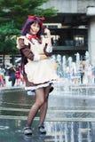 Тайские cosplayers одевают как характеры от шаржа и игры в festa Японии в Бангкоке Стоковое Изображение