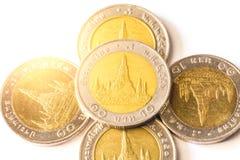 Тайский бат, деньги, тайская монетка Монетки денег тайские & x28; bath& x29; Стоковые Изображения RF