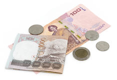 Тайский бат чеканит предпосылку Деньги Таиланда Стоковые Фото