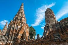 Тайский висок, на wat Chaiwatthanaram, Ayutthaya Стоковая Фотография