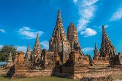 Тайский висок, на wat Chaiwatthanaram, Ayutthaya Стоковые Фотографии RF