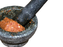 Тайский вкус chili в каменном миномете Стоковые Изображения RF