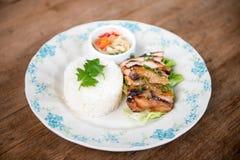 Тайский гриль chciken с рисом жасмина Стоковые Фото