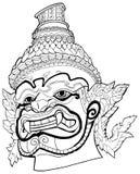 Тайский демон черно-белый Стоковые Фото
