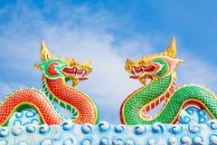 Тайский дракон, король статуи Naga, пары Стоковые Фотографии RF