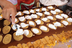 Тайский десерт, тайский блинчик Стоковая Фотография RF