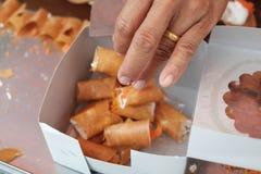 Тайский десерт, тайский блинчик Стоковые Фотографии RF
