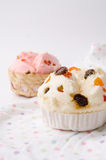 Тайский десерт, тайский испаренный торт чашки или торт ваты с сказочным Стоковая Фотография RF