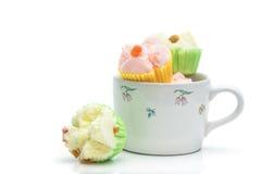 Тайский десерт, тайский испаренный торт чашки или торт хлопка Стоковая Фотография RF