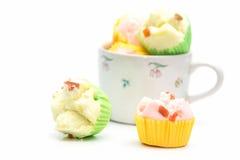 Тайский десерт, тайский испаренный торт чашки или торт хлопка Стоковые Изображения RF