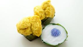 Тайский десерт, тайский пудинг с отбензиниванием кокоса стоковая фотография rf