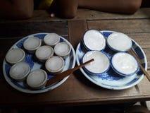 Тайский заварной крем молока кокоса - Khanom Thuai стоковое фото