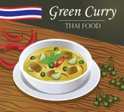 Тайский зеленый стиль вектора Gaeng Kiaw карри болезненный иллюстрация штока