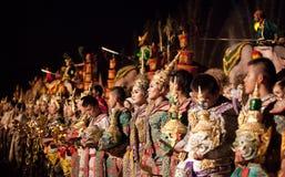 Тайский классический замаскированный балет и тайское историческое a Стоковая Фотография RF