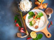 Тайский куриный суп galangal в молоке кокоса или Томе Kha Gai стоковые изображения rf