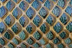 Тайский масштаб рыб стиля handcraft керамический висок искусства Стоковое Изображение RF