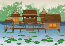 Тайский дом в пруде лотоса Стоковое фото RF