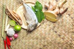 Тайский пищевой ингредиент супа Тома Yum пряного с испаренной скумбрией Стоковое Изображение