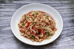 Тайский популярный салат рецепта, пряных и кислых смешанный vegetable с p стоковое фото