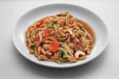 Тайский популярный салат рецепта, пряных и кислых смешанный vegetable с p стоковые фото