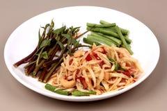 Тайский популярный салат рецепта, пряных и кислых смешанный vegetable с p Стоковые Фотографии RF