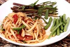 Тайский популярный салат рецепта, пряных и кислых смешанный vegetable с p Стоковое Изображение