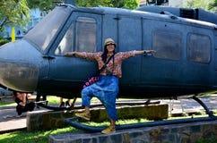 Тайский портрет женщин с армией вертолета Стоковое Изображение RF