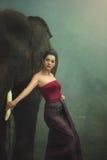Тайский портрет с слоном Стоковое Изображение RF