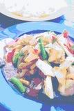 Тайский пряный животик сома салата с креветкой стоковое фото rf