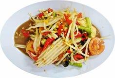 Тайский пряный салат папапайи с посоленным крабом Стоковые Фото