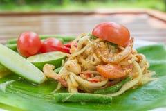 Тайский пряный салат папапайи стоковое изображение