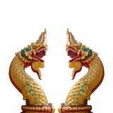 Тайский дракон, король статуи Naga на белой предпосылке Стоковое Фото