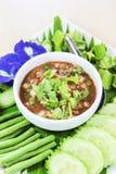 Тайский соус еды, зябких и шримса окуная Стоковые Фото