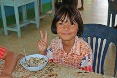 Тайский студент наслаждается стоковые фотографии rf