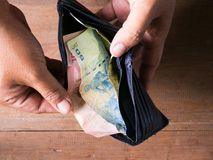 Тайский счет 100, 50 и 20 ванны в заднем бумажнике с Стоковые Фото